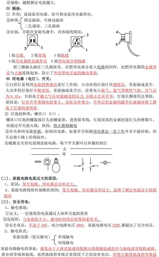 初中电学知识点及公式汇总