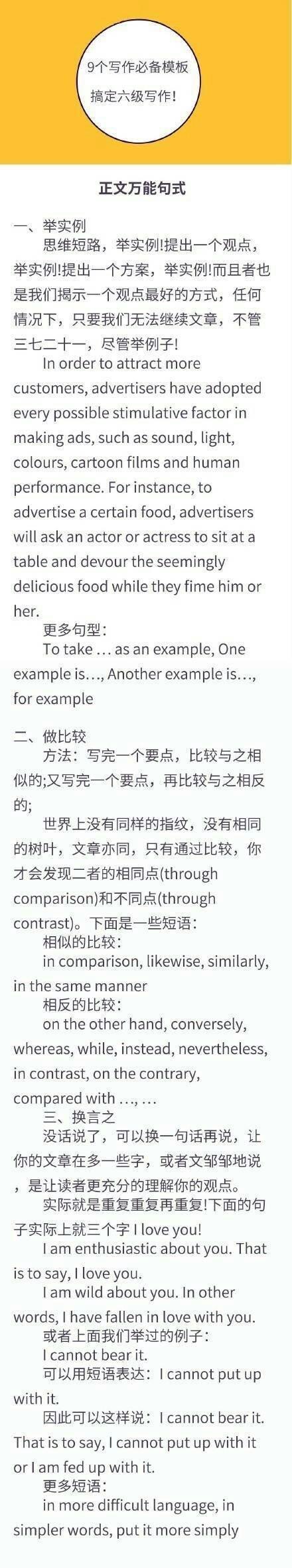 九个高级写作模板,搞定考研英语,四六级考试写作!
