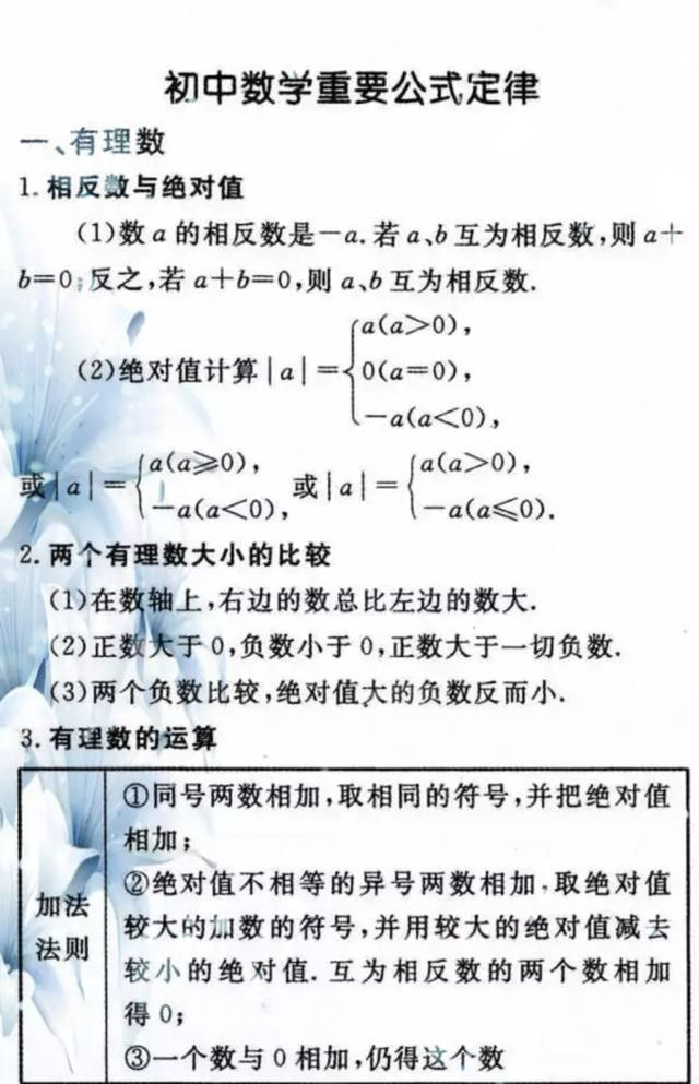吃透这些数学公式定律,初中三年不用愁,建议家长帮孩子收藏