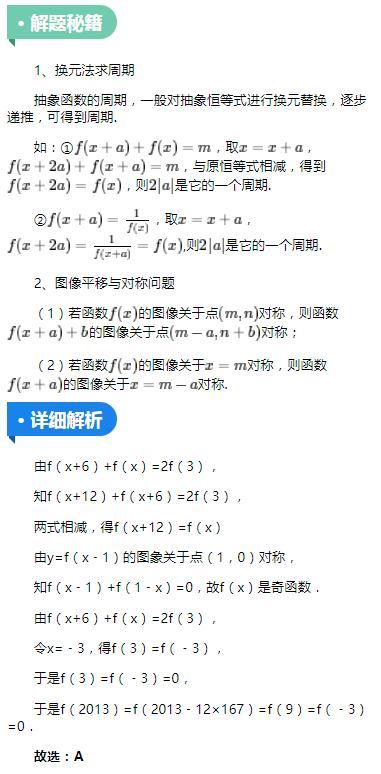 高中数学:掌握它,周期对称全吃透