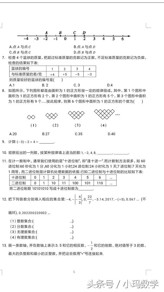 七年级数学有理数拓展提优试卷,老师、家长好帮手值得收藏打印