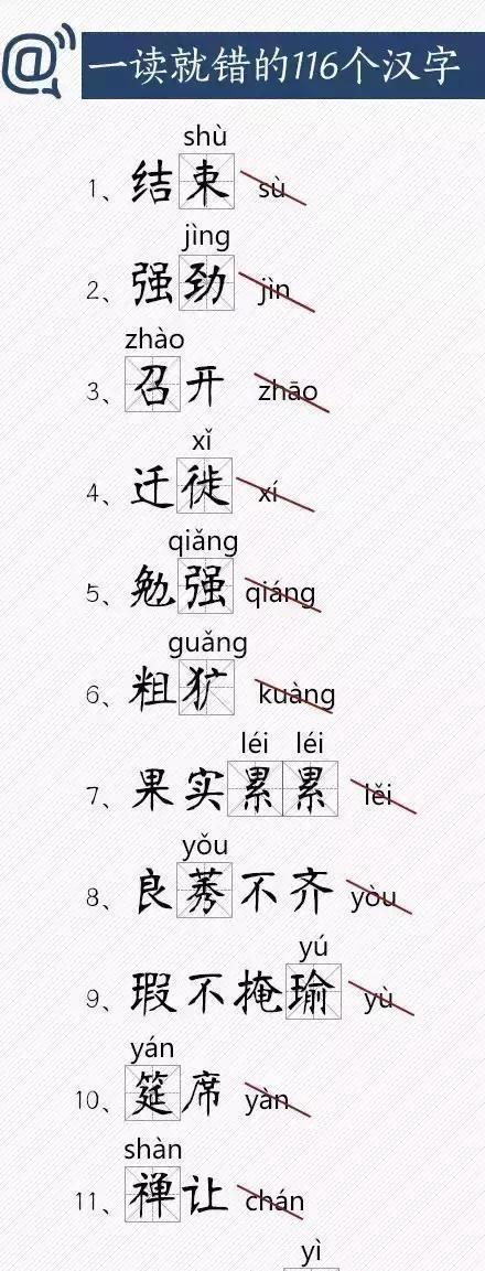 小学语文容易读错的字