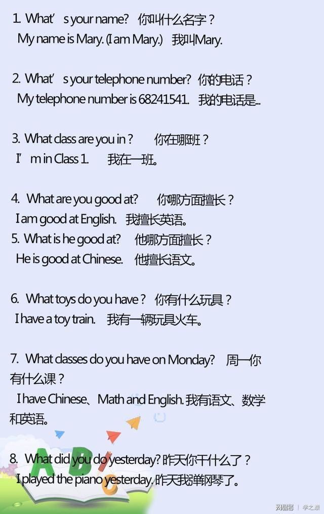 小学常用40条what短语
