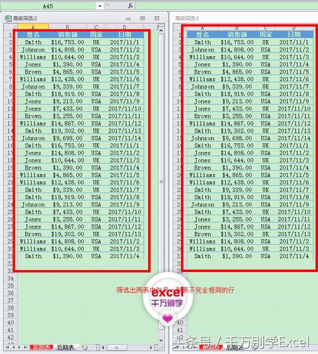 Excel软件中如何筛选出两张表不完全相同的行