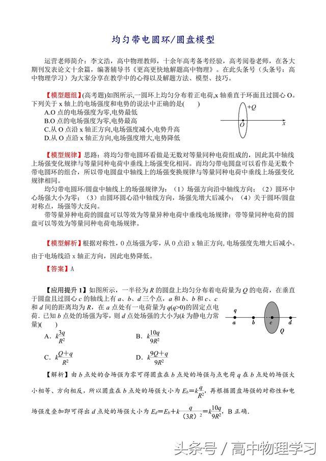 名师特供「高考物理必考模型」均匀带电圆环/圆盘模型