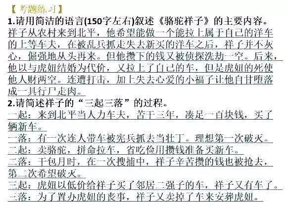 中考名著:初中语文名著考点主要内容汇