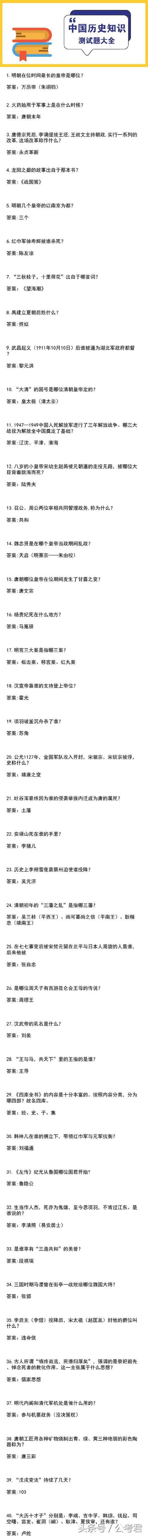 国考历史常识汇总|中国历史测试题240道!