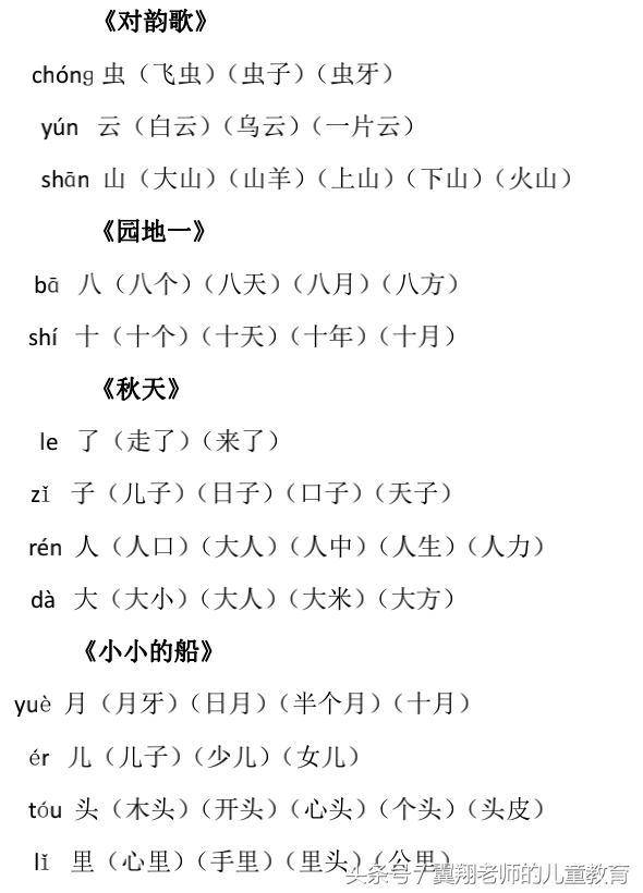 一年级语文上册《生字组词》各单元都有