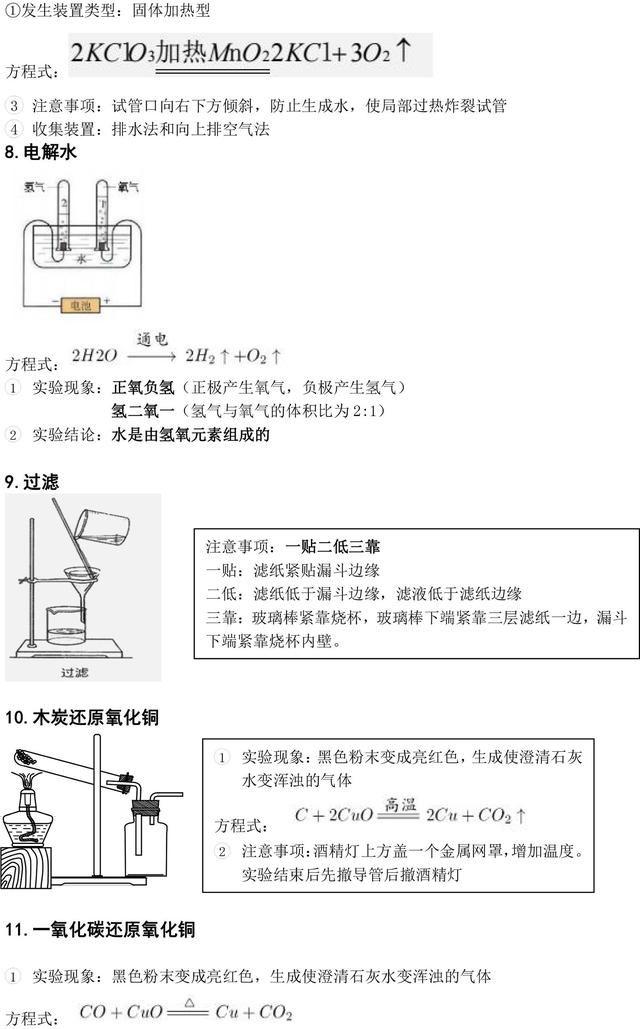 人教版九年级上册常见的15个化学实验知识点归纳