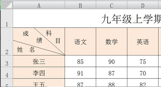 Excel中多斜表头的制作