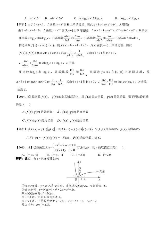 新课标全国卷1理科数学汇编《函数及其性质》