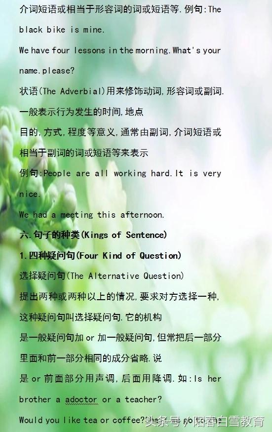中考英语:初中英语全部短语,句型,时态(全,清晰)