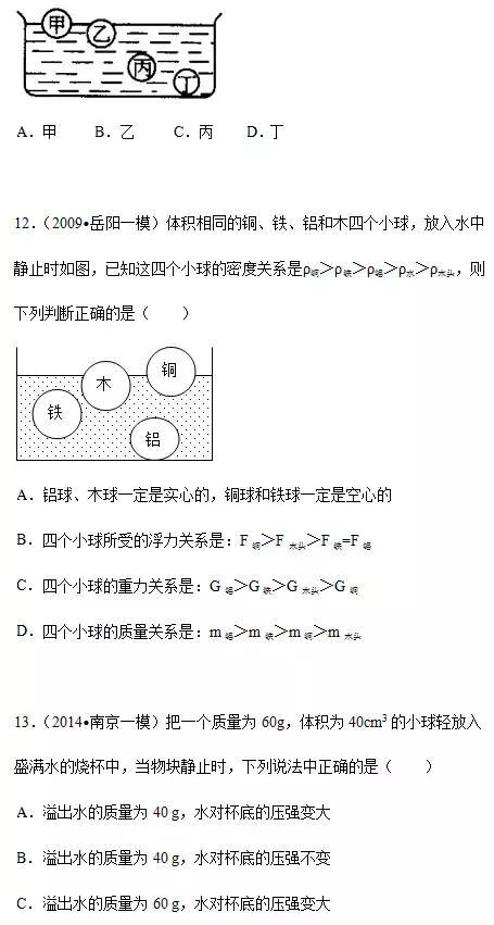 初中物理|浮力与压强练习题及详细解答