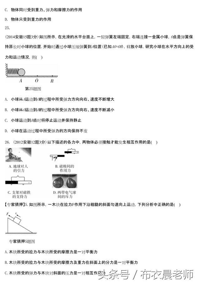 中考 物理高频命题统计 力及运动和力板块