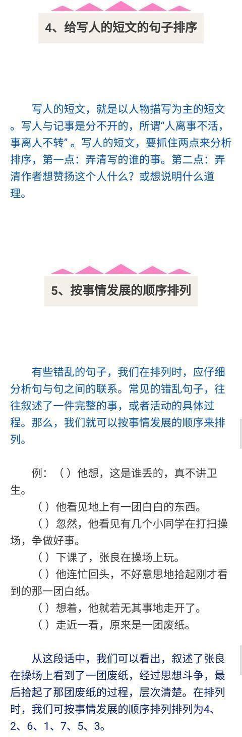 小学语文句子排列方法分类整理