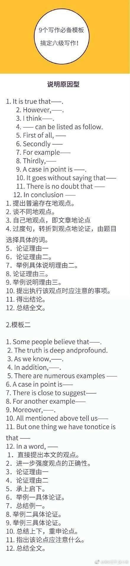 九个高级写作模板,搞定考研英语,四六级考试写作