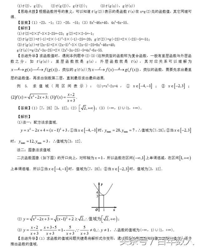 高一数学必修1第二章《函数》第一讲:函数及其表示方法知识讲解