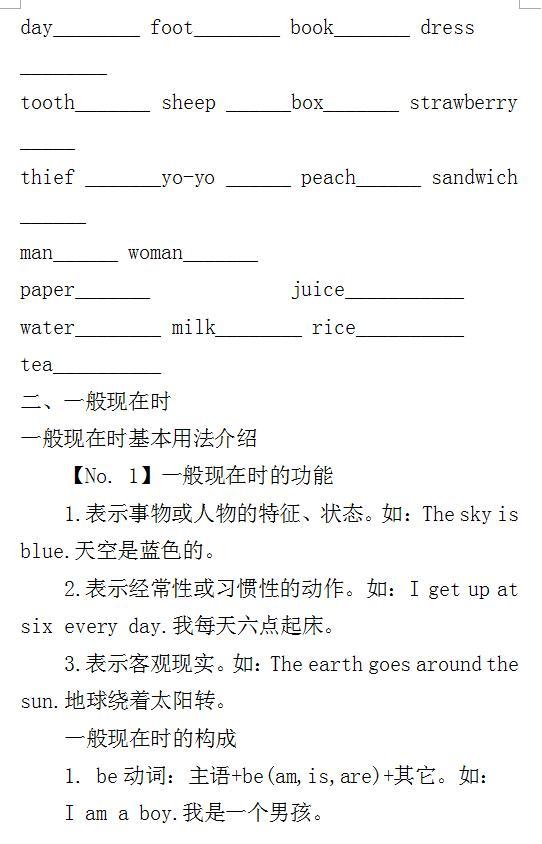 小学英语1-6年级:语法知识点精讲(附习题)