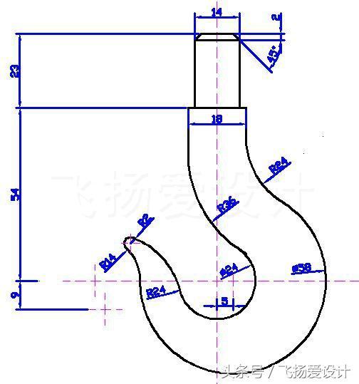 CAD最经典的练习图-钩子的画法,附上详细教程