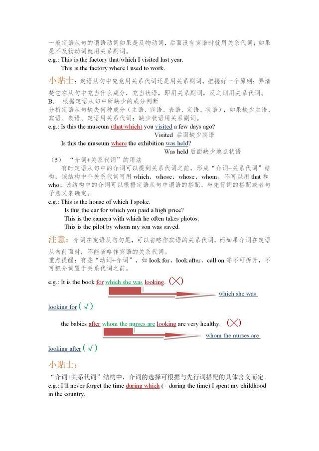 初中英语定语从句用法总结