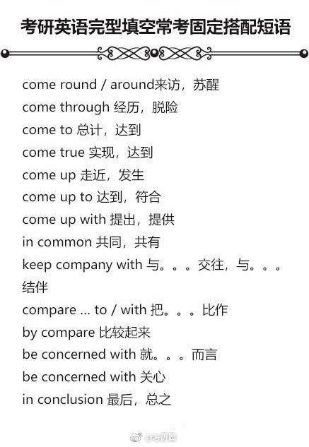 考研英语完型填空常考固定搭配短语