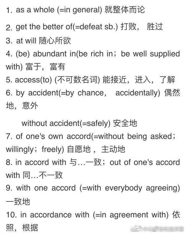 四六级、考研英语翻译中经常出现的90组词组