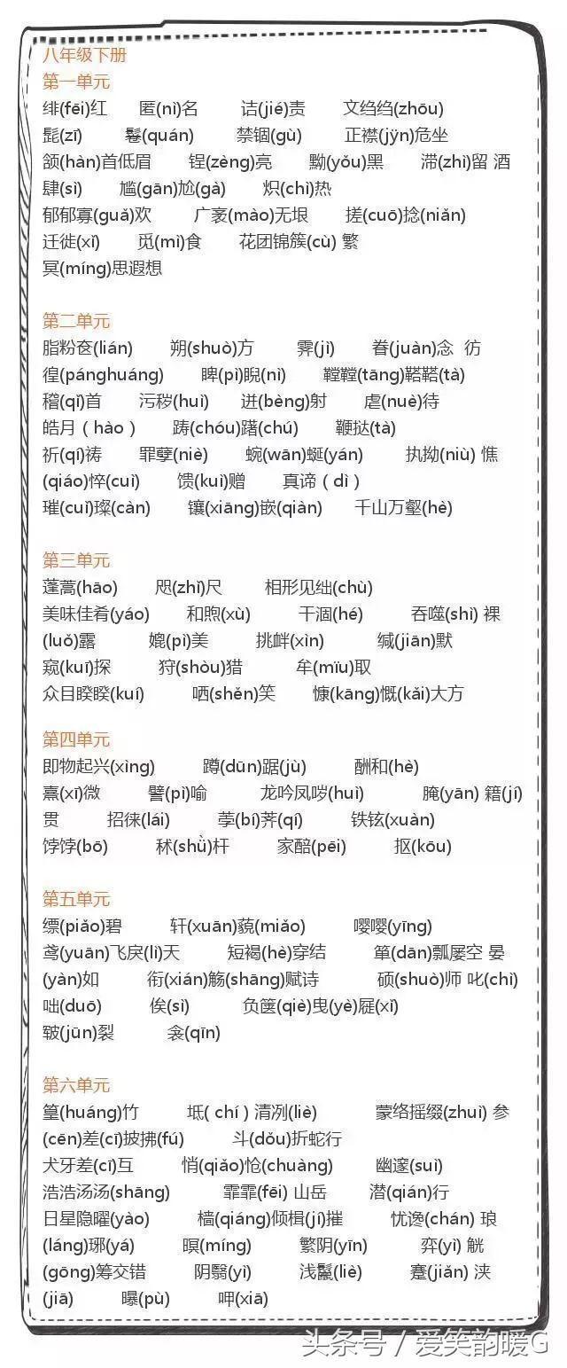 初中语文必考易错字音汇总