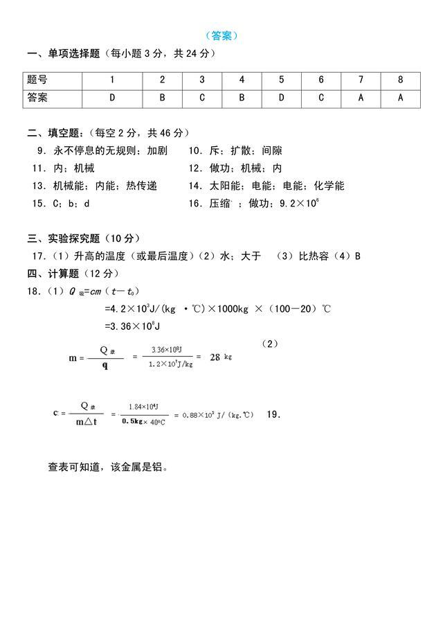 人教版初三物理第13、14章测试题,含答案,备考练手