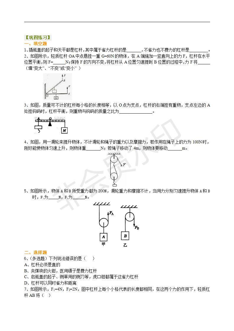 中考物理总复习:简单机械(提高)巩固练习