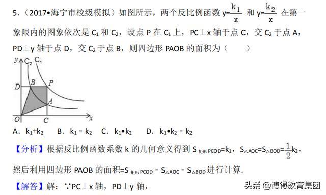 九年级反比例函数常考题型及提高题型(含详细解析)!