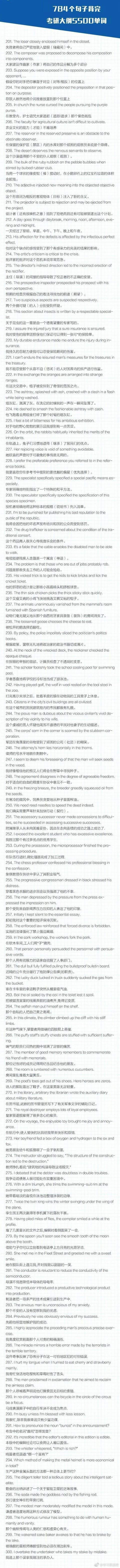 实用英语-784个句子背完考研大纲5500词!