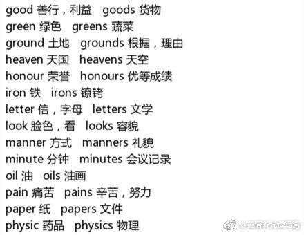 39组特殊英语名词,其单数和复数意思不同!