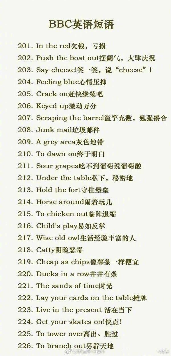 226个BBC常用英语短语,每天记10个,收藏学习!