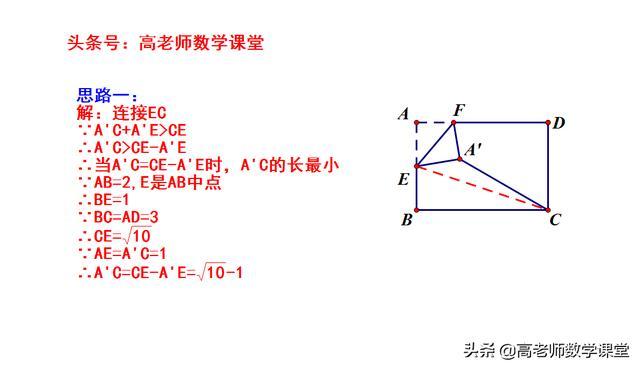 贵阳中考数学,最值问题,矩形折叠,求A'C的最小值