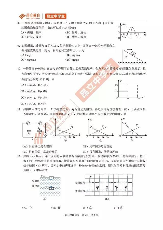 黄浦区高三物理二模试卷+答案