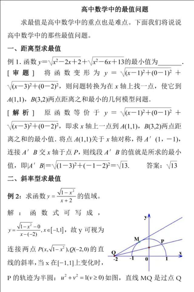 高中数学《最值问题》附答案解析