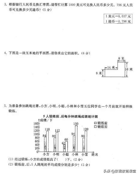 人教版数学1-6年级下册期末复习卷