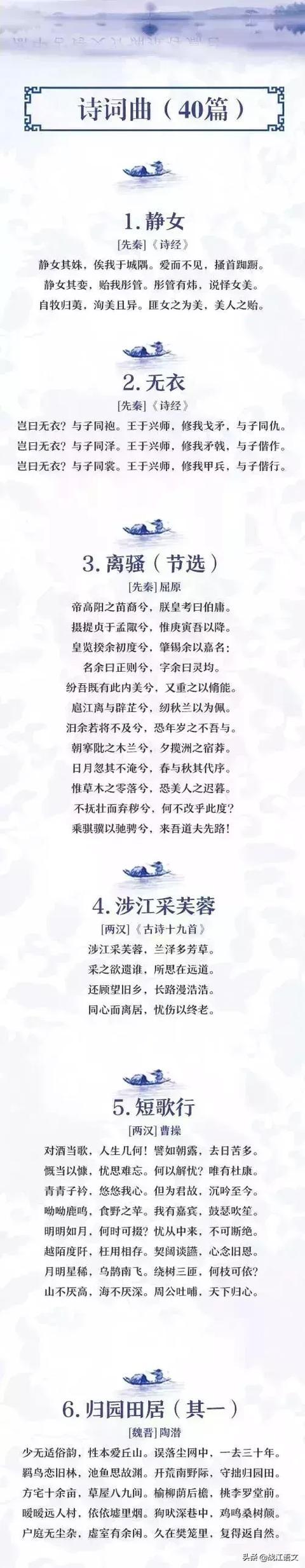 新课标高中古诗文背诵72篇汇编