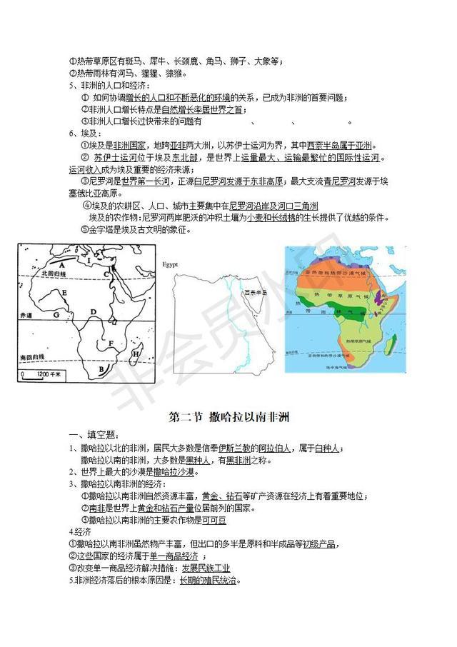 七年级下册地理知识点汇总资料