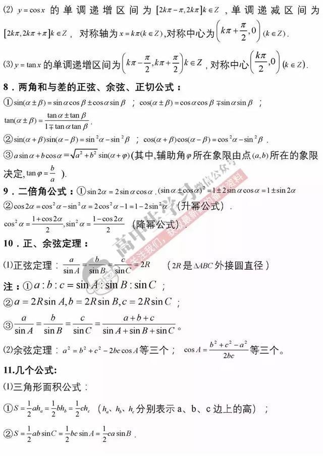 背熟这份高中数学基础知识清单,数学轻松突破100!