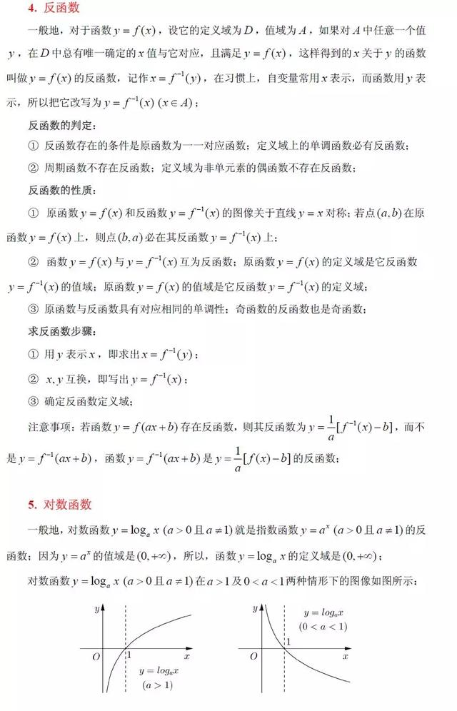 高中数学初等函数知识点及性质大全(超详细)