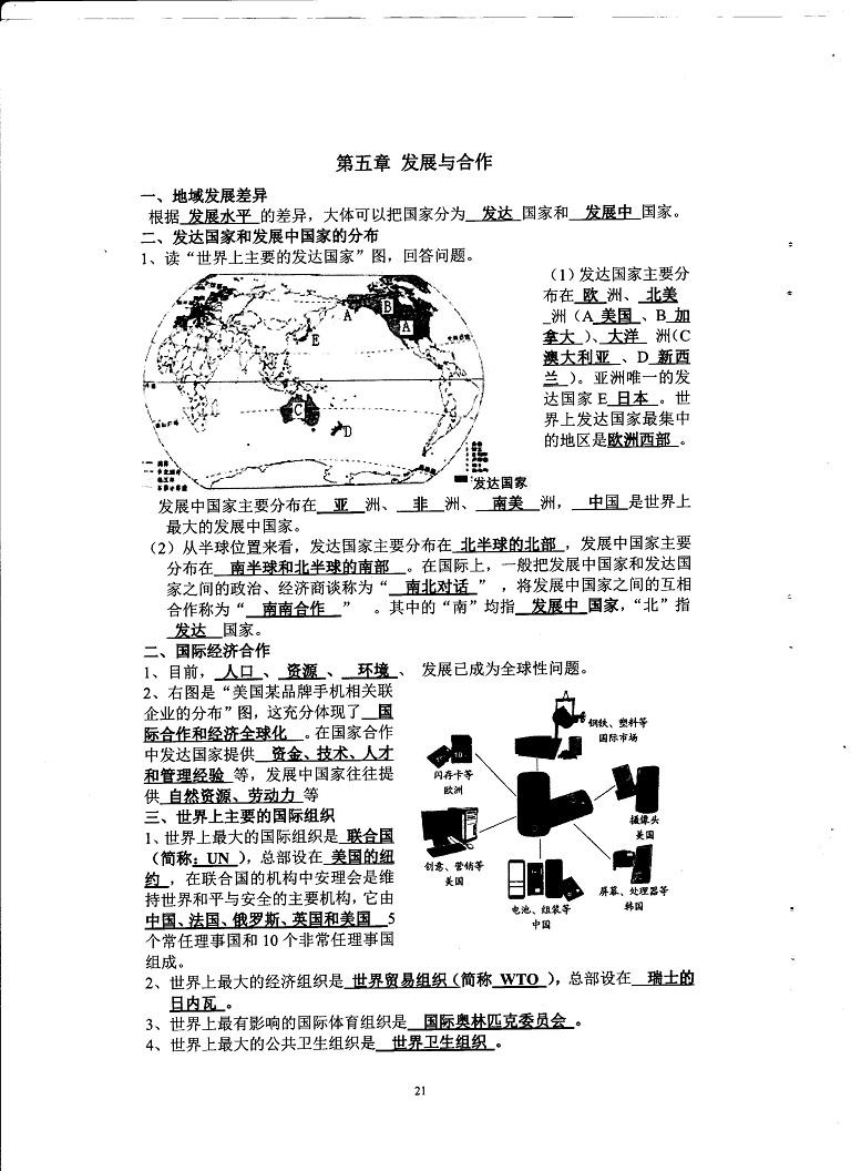 初中地理重点随堂笔记总结-发展与合作