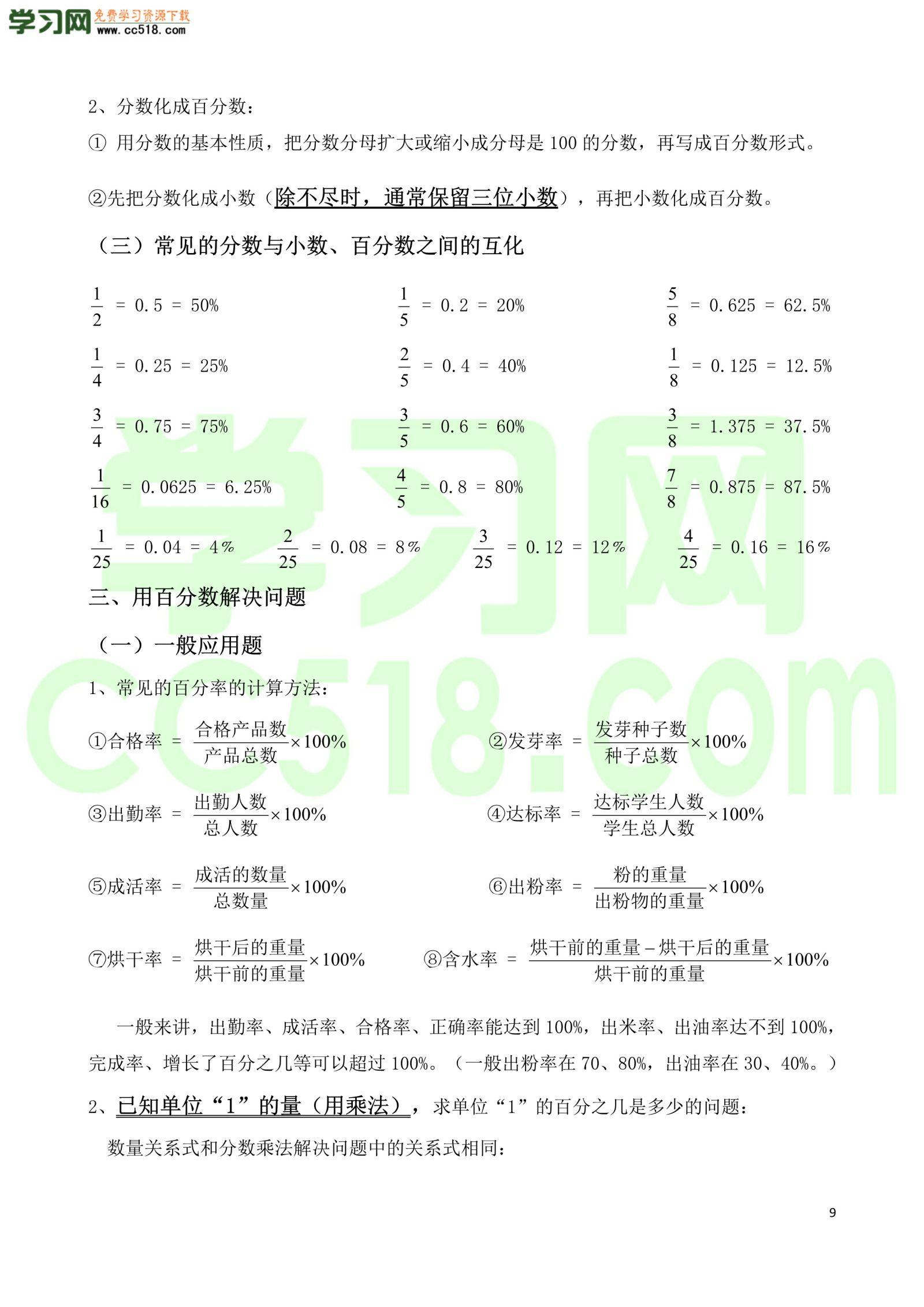 六年级数学上册各单元知识学习清单(人教版)