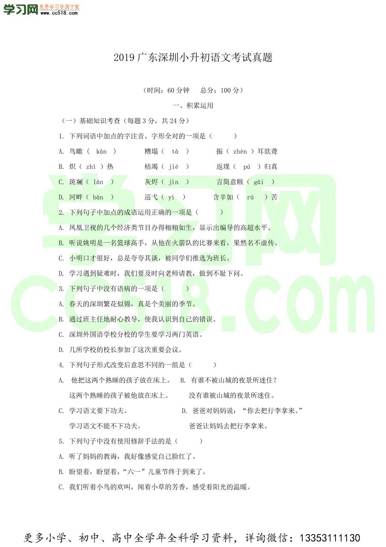 2019广东深圳小升初语文考试真题