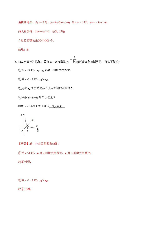 2020年中考数学选择填空压轴题汇编:函数综合结论(文件编号:21011513)