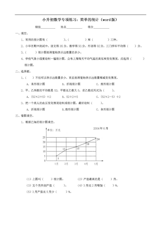 小升初数学专项练习:简单的统计(word版)(文件编号:21011839)