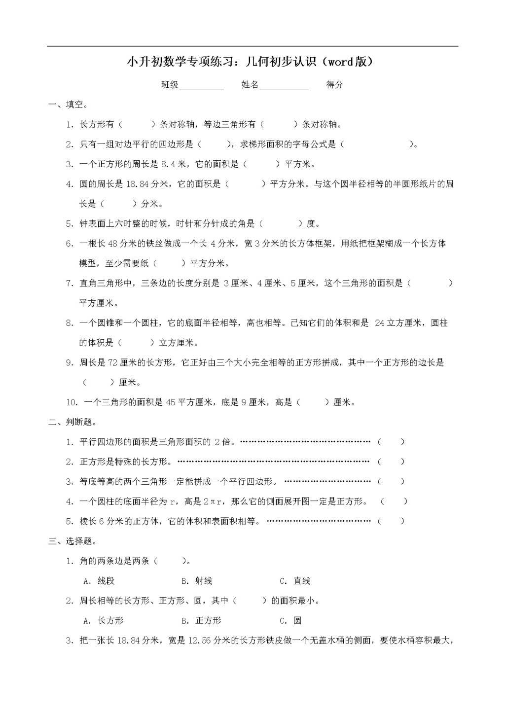 小升初数学专项练习:几何初步认识(word版)(文件编号:21011840)